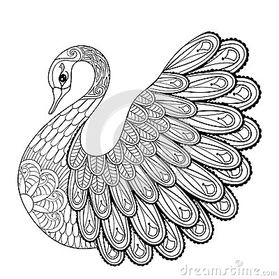 Free Hand Drawing Artistic Swan For Adult Coloring Pages In Doodle Royalty Free Stock Photos - 65683458