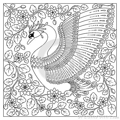Free Hand Drawing Artistic Swan In Flowers For Adult Coloring Pages Stock Image - 70507041