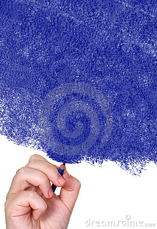 Hand drawing with a blue pencil
