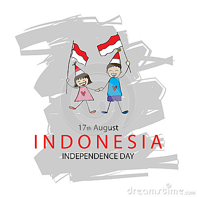 Hand drawing boy and girl holding flag. Independence day of Indonesia. Stock Photo