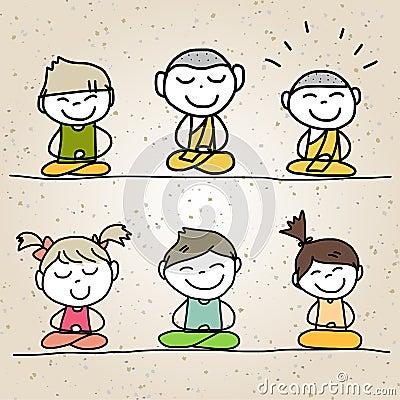 Hand drawing cartoon happy life
