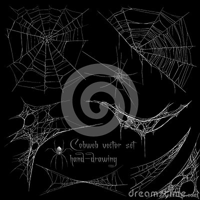 Free Hand Drawing Cobweb Set Stock Photos - 56262653