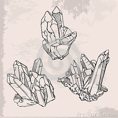 hand drawing crystals set stock vector image 58784976