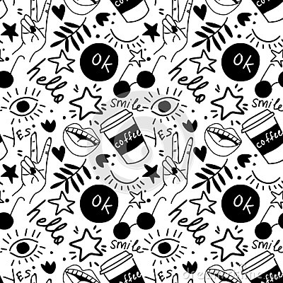 Hand drawing doodles.Seamless pattern with hand phrases and symbols. Vector seamless background. Stock Photo