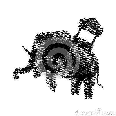Hand drawing elephant trained design icon Vector Illustration