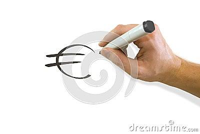 Hand drawing Euro symbol