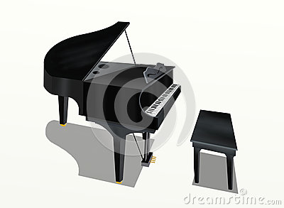 Hand Drawing Of Grand Piano On White Background Royalty Free Stock Photography - Image: 25785077