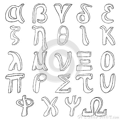Hand drawing greek alphabet