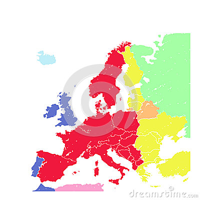 Hand drawing grunge Europe map isolated
