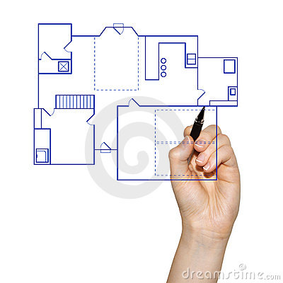 Hand drawing a house blueprint