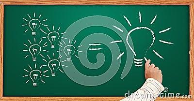 Hand drawing light bulbs one on a blackboard