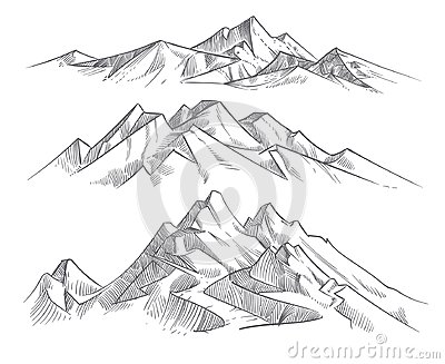 Hand drawing mountain ranges in engraving style. Vintage mountains panorama vector nature landscape Vector Illustration