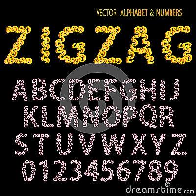 Hand drawing ornamental alphabet zigzag