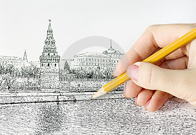 Hand drawing pencil