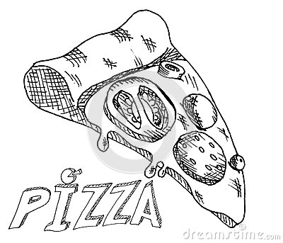 hand drawing pizza stock vector image 44602480