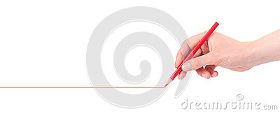 Hand drawing red line with pencil