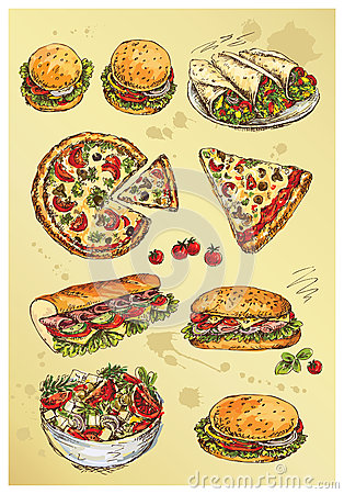 Hand drawing  set of sandwiches