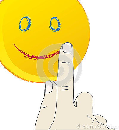 Hand drawing a smiling face