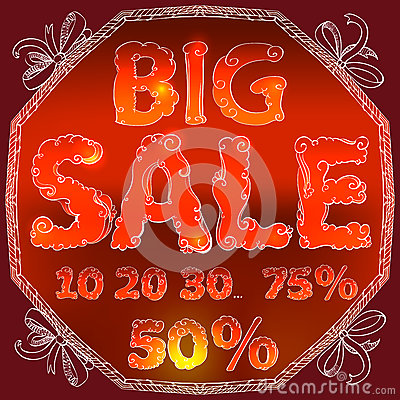 Hand drawing text for sales