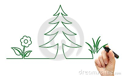 Hand drawing tree and flower icon