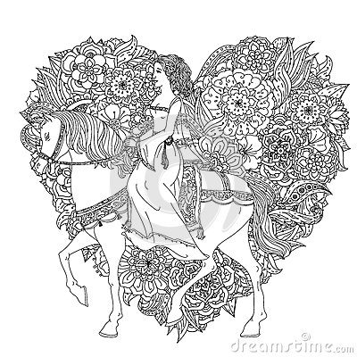 Hand drawing zentangle element stock vector image 65578282 for Princess riding a horse coloring pages