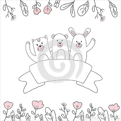 in hand drawings of cute greeting illustrations Cartoon Illustration