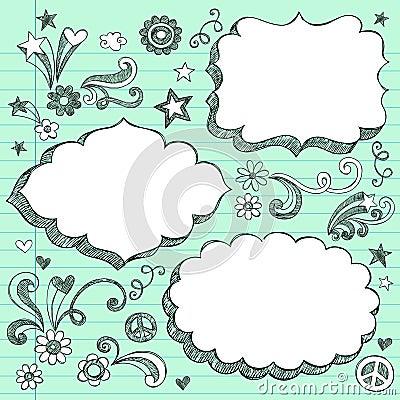 Hand-Drawn 3D Speech Bubbles Sketchy Doodles