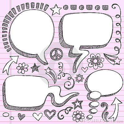 Free Hand-Drawn 3D Speech Bubbles Sketchy Doodles Stock Image - 22355181