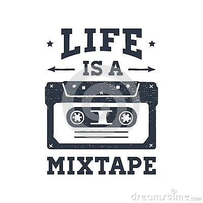 Free Hand Drawn 90s Themed Badge With Cassette Tape Vector Illustration. Stock Photo - 87660350
