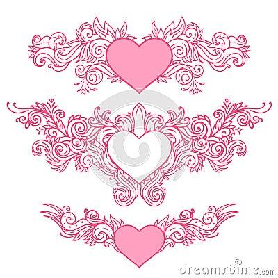 Hand-Drawn Abstract Hearts