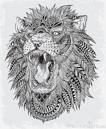 Hand Drawn Abstract Lion Vector Illustration Stock