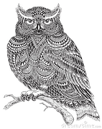 Free Hand Drawn Abstract Pattern Owl Illustration Royalty Free Stock Photos - 48615968
