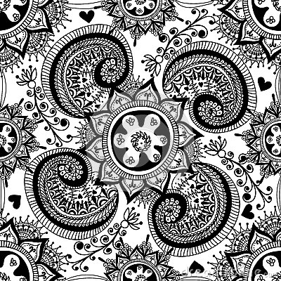 Hand drawn abstract seamless gzhel pattern for adult for Tribal pattern coloring pages