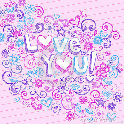 Free Hand-Drawn Abstract Sketchy Love You Doodles Stock Photos - 13165783