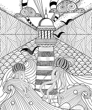 Free Hand Drawn Adult Coloring Page, Artistically Sea With Ethnic Lig Royalty Free Stock Photos - 65143308