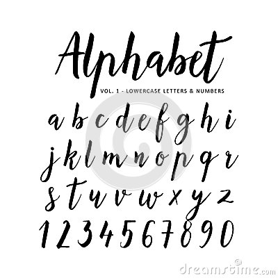Free Hand Drawn Alphabet. Script Font. Brush Font Royalty Free Stock Photo - 71871035