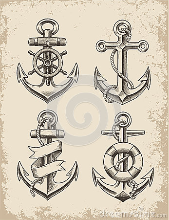 Free Hand Drawn Anchor Set Stock Photography - 39542572