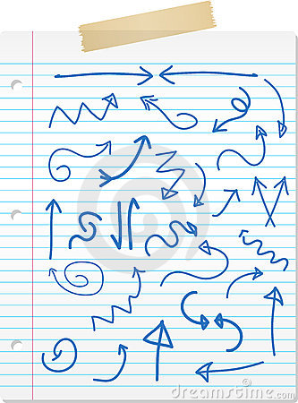 Hand drawn arrows on lined paper