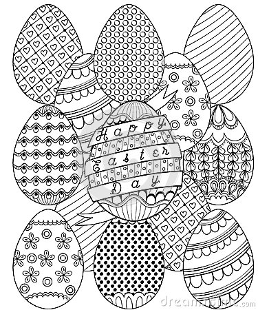 Hand Drawn Artistic Easter Eggs Pattern For Adult Coloring