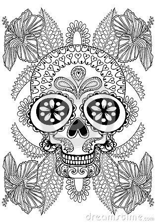 Hand Drawn Artistic Skull In Flowers For Adult Coloring