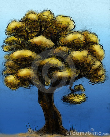 Hand drawn autumn tree