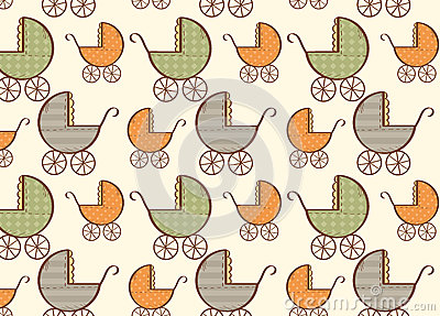 Hand drawn baby carriage pattern