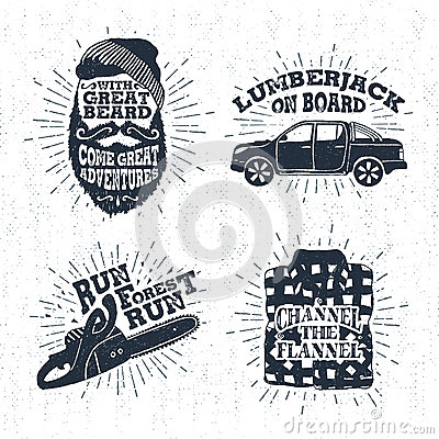 Free Hand Drawn Badges Set With Bearded Face, Pickup Truck, Chainsaw, And Plaid Shirt Illustrations. Stock Image - 74719311