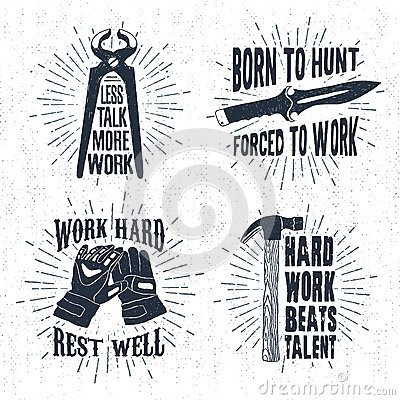 Free Hand Drawn Badges Set With Pincers, Hunting Knife, Working Gloves, And Hammer Illustrations. Stock Photo - 74719310
