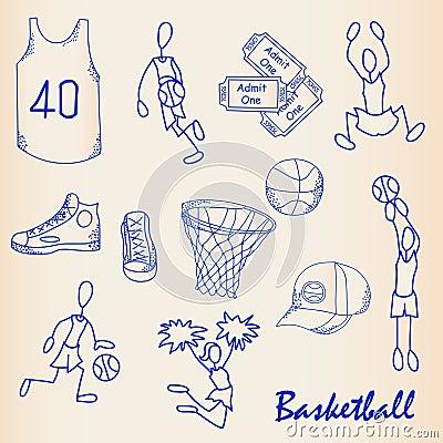 Free Hand Drawn Basketball Icon Set Stock Images - 23098484