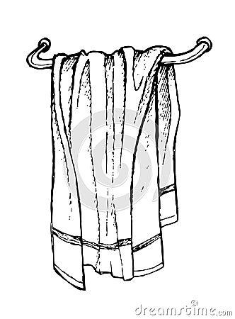 Hand Drawn Bath Towel Line Art Stock Illustration Image