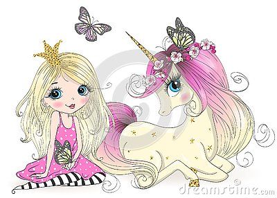 Hand drawn beautiful cute little princess girls with unicorn. Vector Illustration