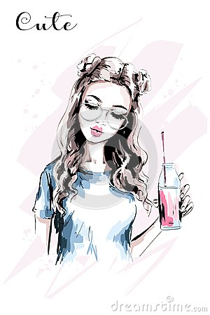 Free Hand Drawn Beautiful Girl With Stylish Hairstyle. Fashion Woman With Drink Bottle. Cute Young Woman Portrait. Stock Image - 104490481
