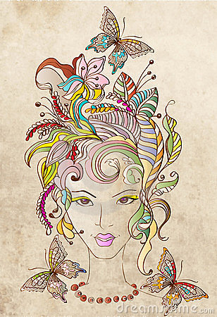Hand Drawn Beautiful woman with flowers in hair