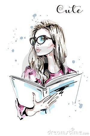 Free Hand Drawn Beautiful Woman With Book. Fashion Woman In Eyeglasses. Stylish Blond Hair Girl Portrait. Sketch. Stock Images - 104092544